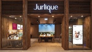 Outside looking in of a beautiful Jurlique retail store styled with timber